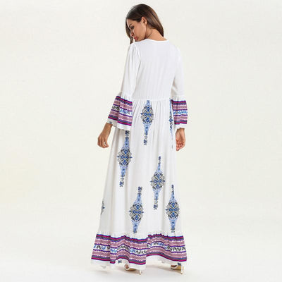 White Hippie Chic Long Dress bohemian