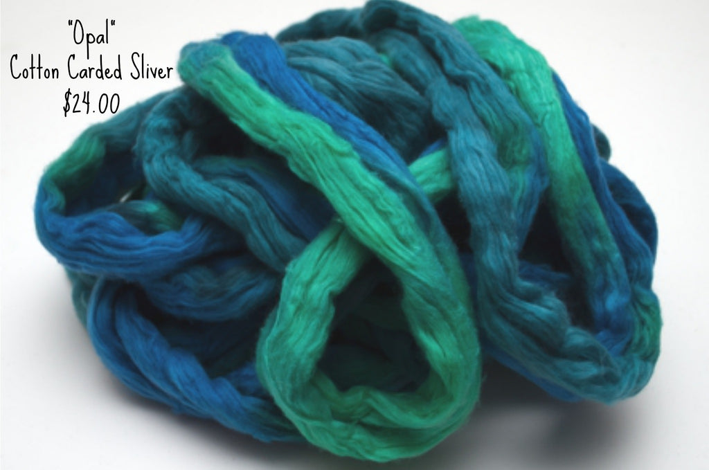 Cotton Carded Sliver 2oz. colorway - Opal $24.00