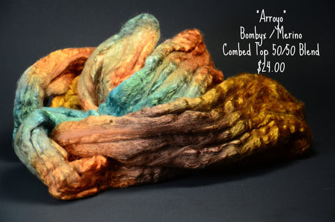 Bombyx / Merino Combed Top 50/50 blend 2oz. colorway - Arroyo - $24.00