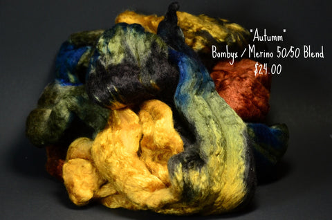 Bombyx / Merino Combed Top 50/50 blend 2oz. colorway - Autumn - $24.00