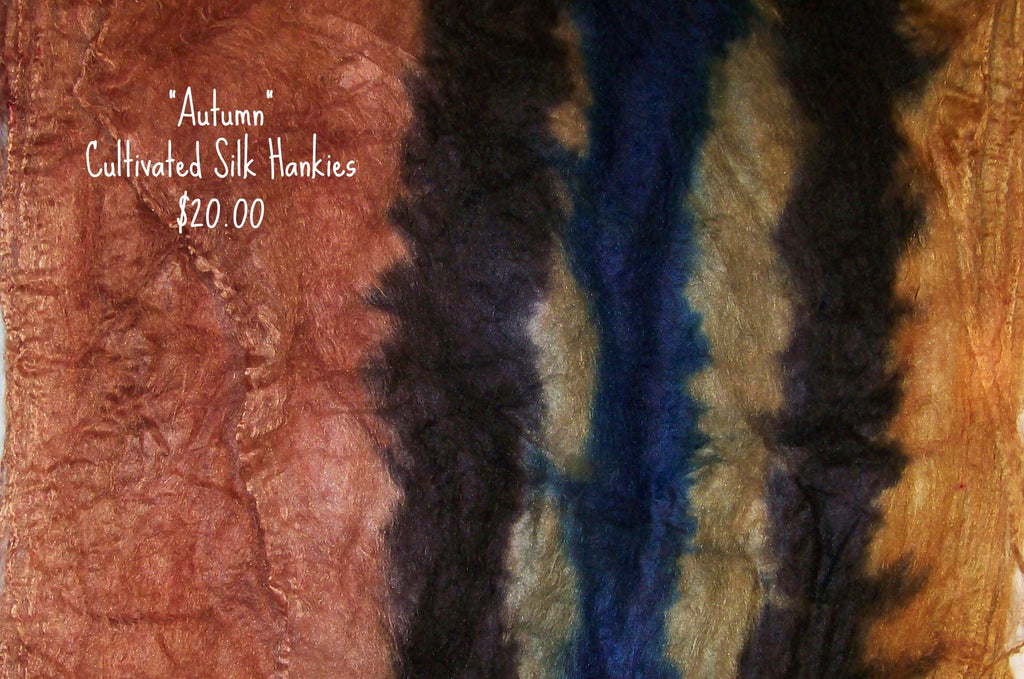 "Cultivated Silk ""Hankies"" .8 oz. colorway - Autumn - $20.00"