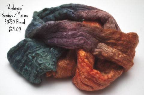Bombyx / Merino Combed Top 50/50 blend 2oz. colorway - Ambrosia - $24.00