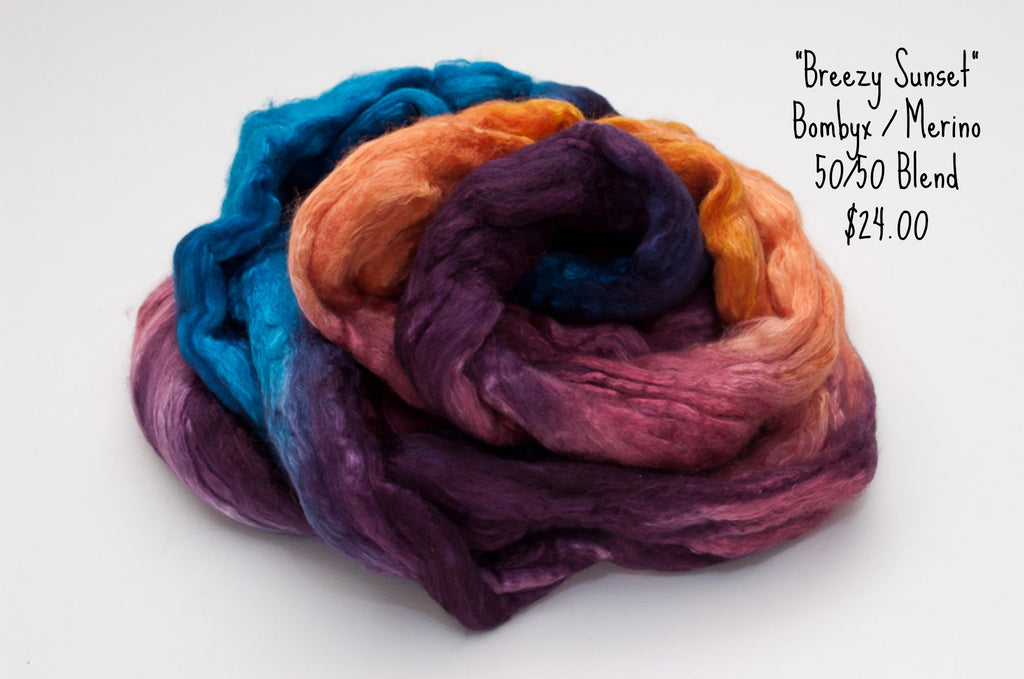 Bombyx / Merino Combed Top 50/50 blend 2oz. colorway - Breezy Sunset - $24.00