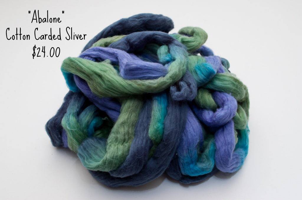 Cotton Carded Sliver 2oz. colorway - Abalone - $24.00