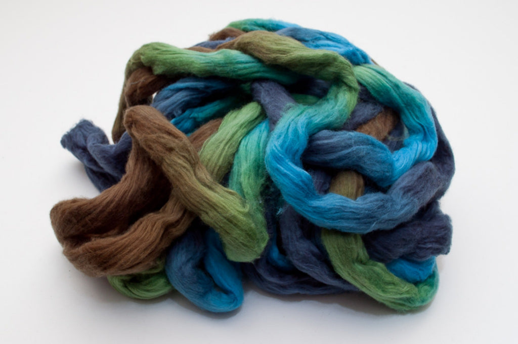 Cotton Carded Sliver 2oz. colorway - Bluespruce - $24.00