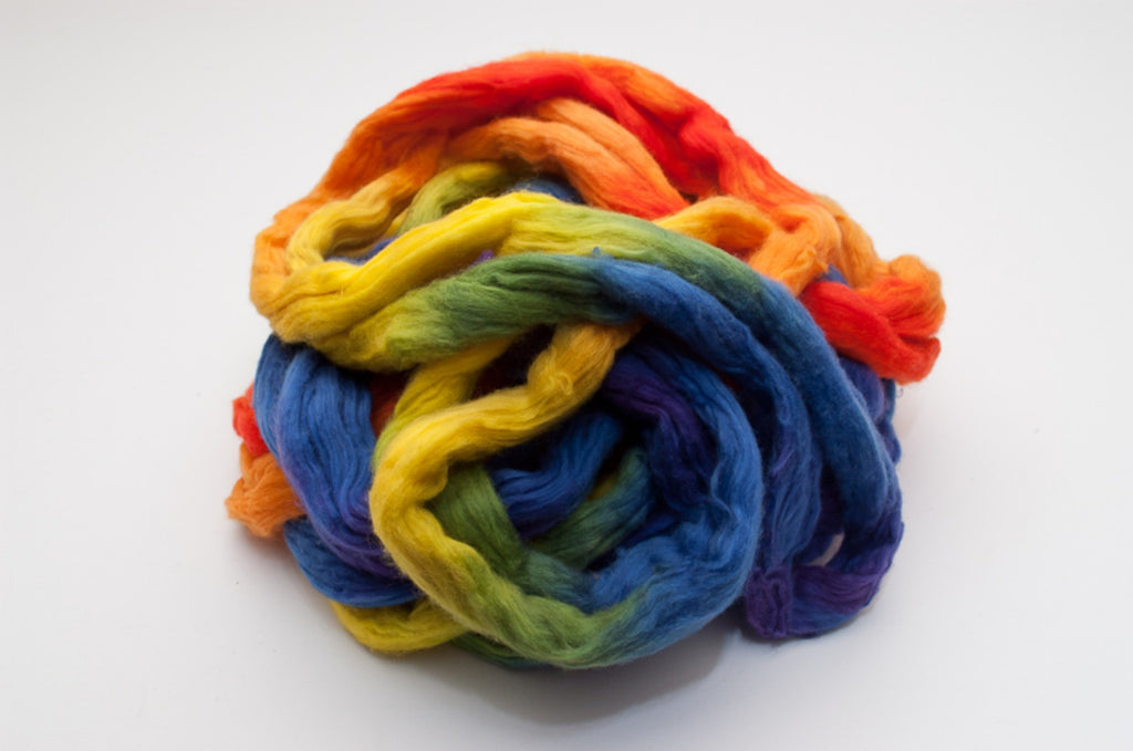 Cotton Carded Sliver 2oz. colorway - Rainbow - $24.00