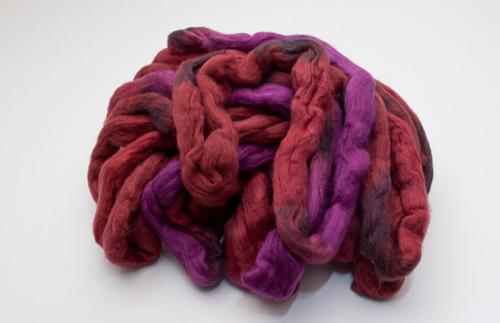 Cotton Carded Sliver 2oz. colorway - Sangria $24.00