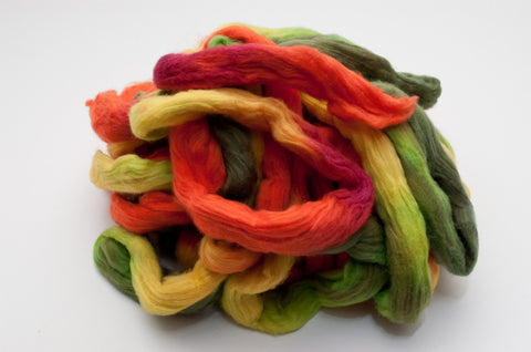 Cotton Carded Sliver 2oz. colorway - Tropical Forest $24.00
