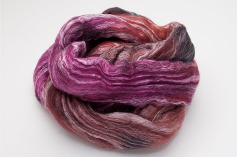 Bamboo / Merino Combed Top 50/50 blend 2oz. colorway - Sangria - $18.50