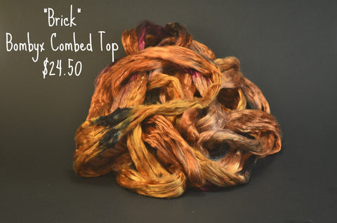 Bombyx  Combed Top 2oz. colorway - Brick - $24.50