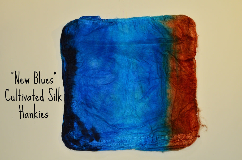 "Cultivated Silk ""Hankies"" .8 oz. colorway - New Blues - $20.00"