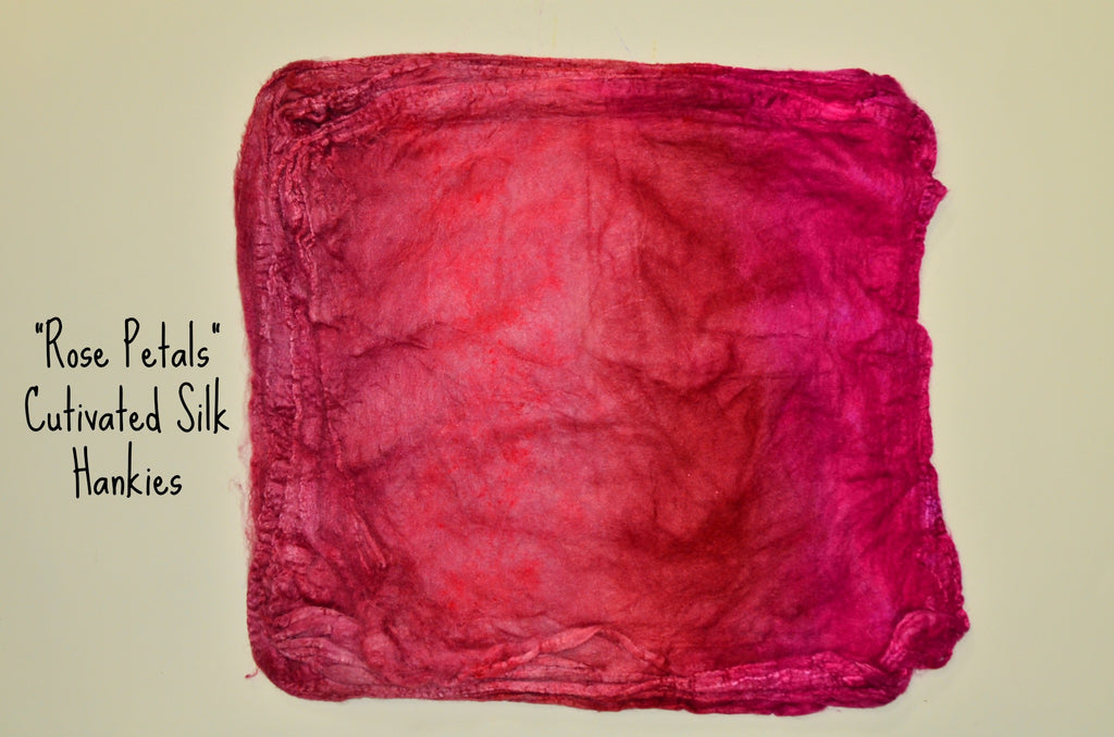 "Cultivated Silk ""Hankies"" .8 oz. colorway - Rose Petals - $20.00"