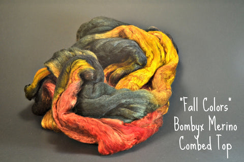 Bombyx / Merino Combed Top 50/50 blend 2oz. colorway - Fall Colors - $24.00