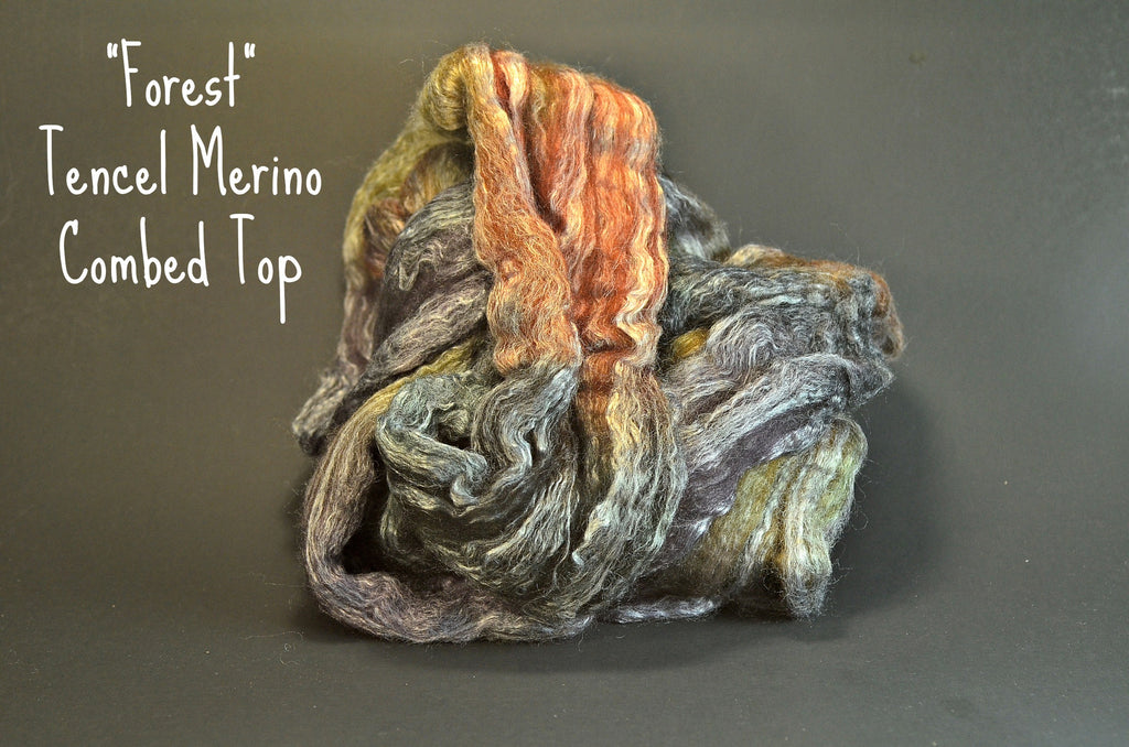 Tencel Merino Combed Top 50/50 blend 2oz. colorway - Forest $17.00
