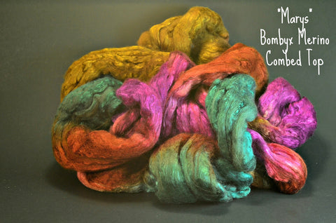 Bombyx / Merino Combed Top 50/50 blend 2oz. colorway - Mary's - $24.00