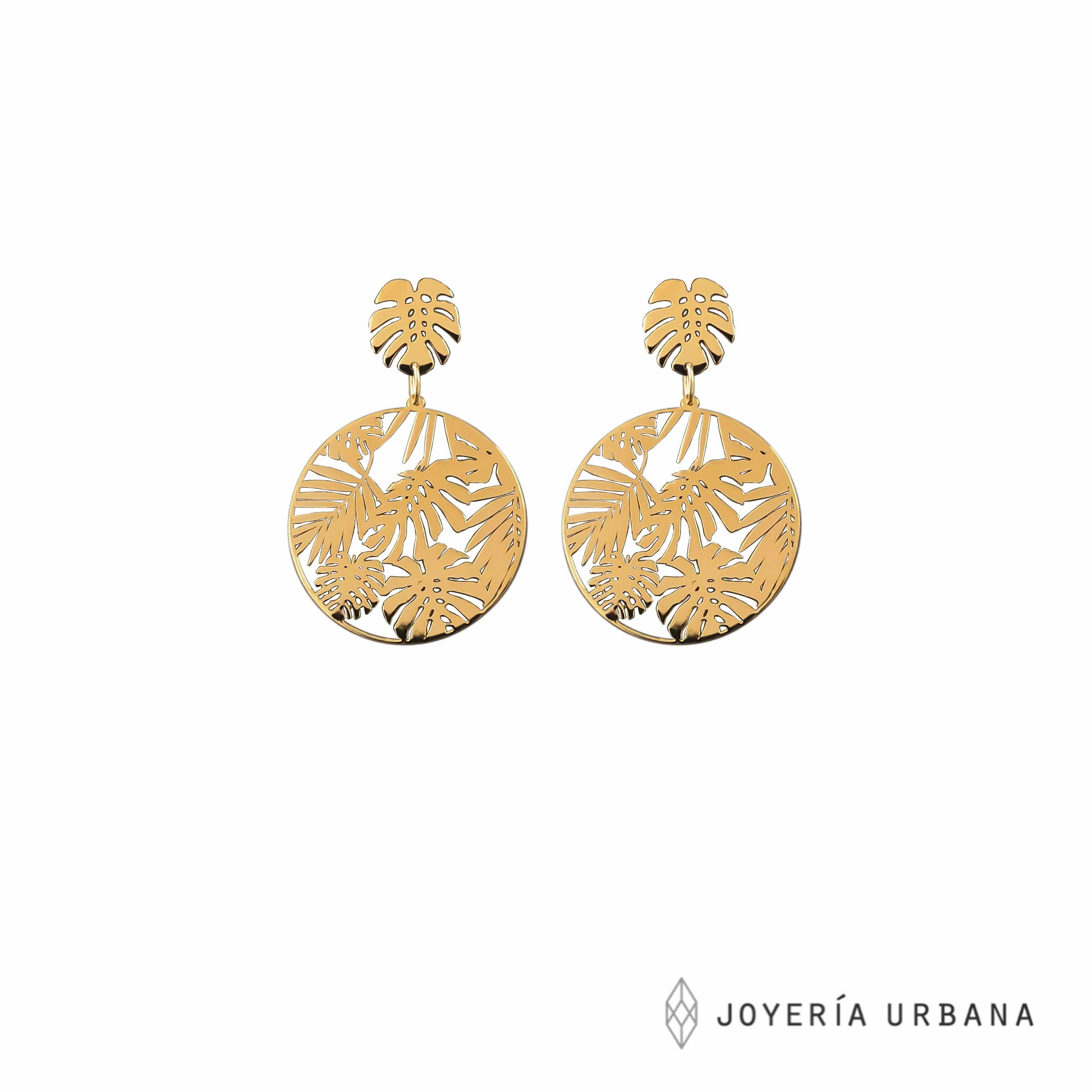 Aretes monstera dorados