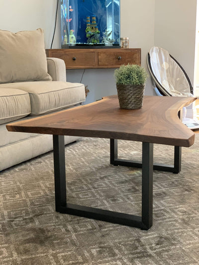 The Carpenty Shop Co., LLC Black Walnut Coffee Table U Shaped Legs