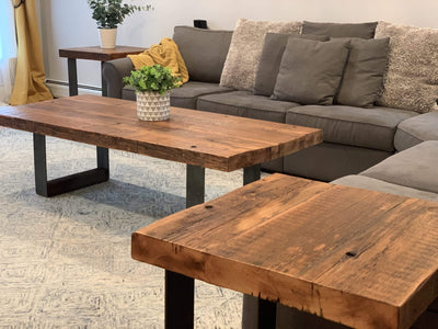The Carpenty Shop Co., LLC Reclaimed Wood Coffee Table set with Raw Steel Legs
