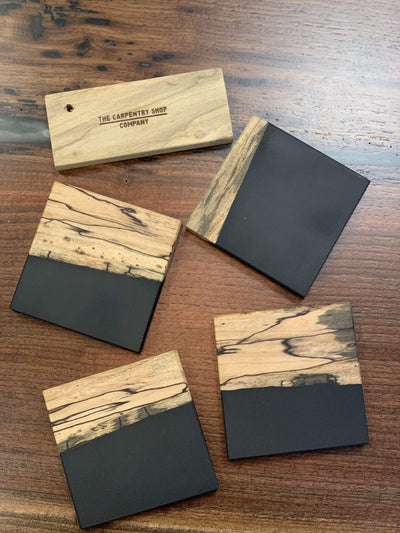 The Carpentry Shop Co., LLC Spalted Maple and Black Epoxy Coaster Set