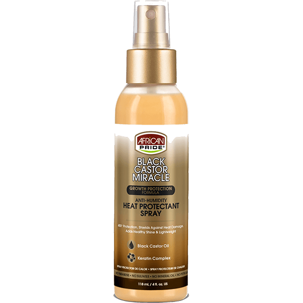 African Pride Styling Product AFRICAN PRIDE: Black Castor Miracle- Anti-Humidity Heat Protectant Spray 4oz