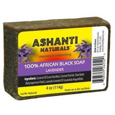 Ashanti Naturals Bath & Body Ashanti 100% African Black Soap Bar - Lavender 4oz
