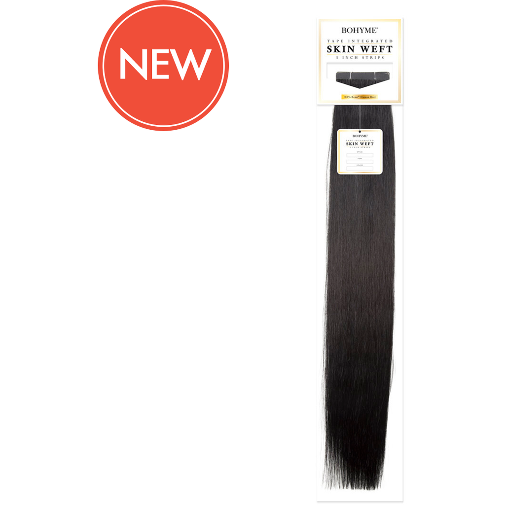 "Bohyme Hair Extensions #1 - Jet Black Bohyme: Adhesive Skin Weft- Silky Straight 3"" Tape-Ins 22"""