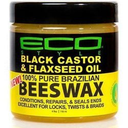 Eco Style: Black Castor & Flaxseed Oil 100% Pure Brazilian Beeswax 4oz