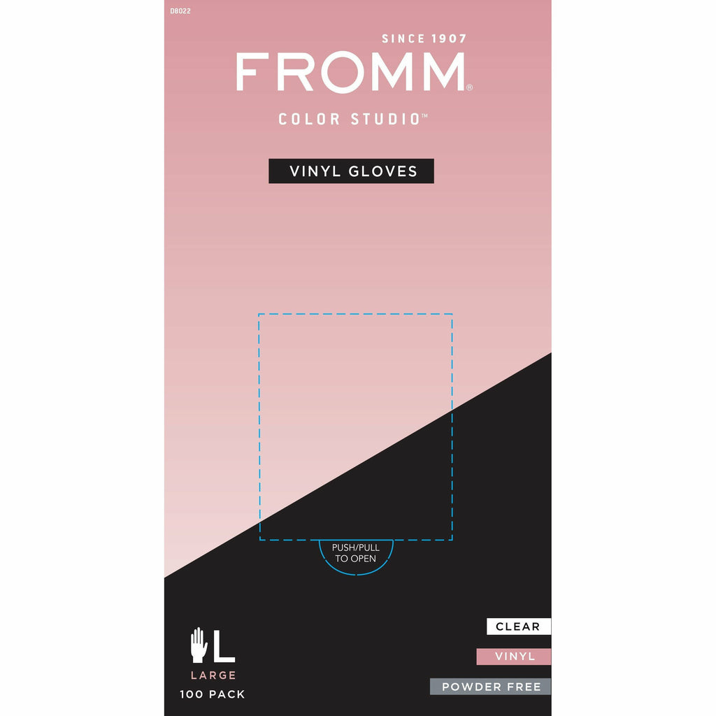 Fromm Salon Tools Large #D8022 Fromm: Vinyl Clear Powder-Free Gloves