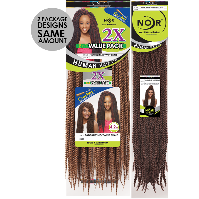 Janet Collection Crochet Hair #1 - Jet Black JANET COLLECTION™: Noir™ Tantalizing Twist Braid <br> 100% Kanekalon