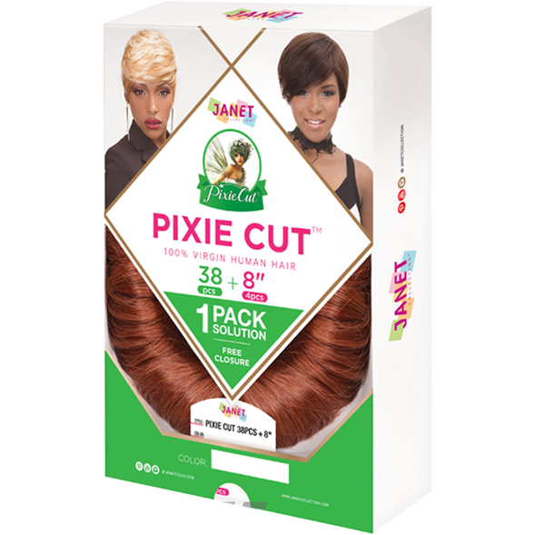 "Janet Collection Virgin Human Hair #1 JANET COLLECTION™: PIXIE CUT 100% VIRGIN HUMAN HAIR 38PCS + 8"" 4PCS"