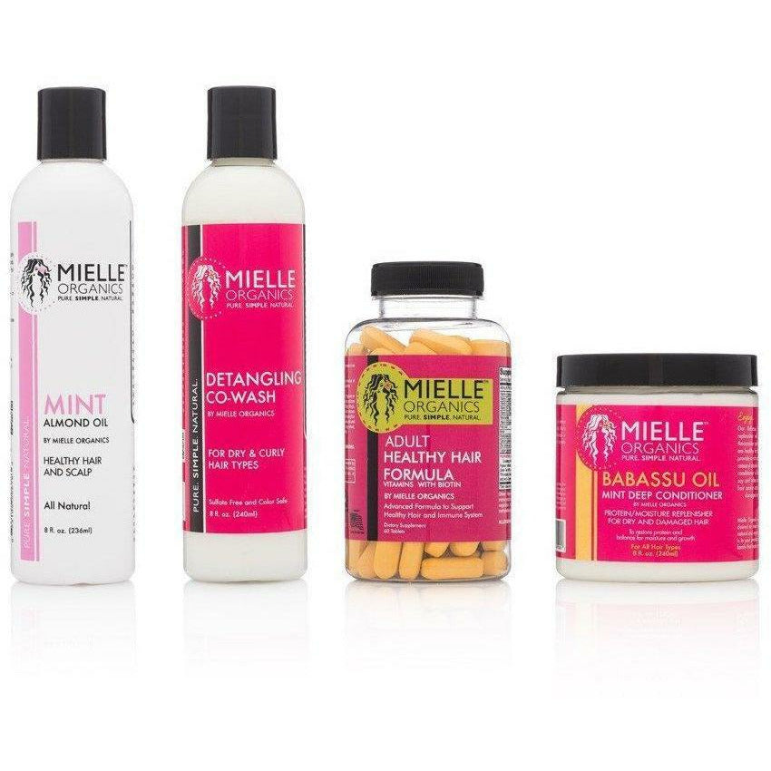 Mielle Organics Styling Product Healthy Hair Regimen Bundle Pack 1 (Deep Hair Conditioner, Co-Wash, Hair Oil & Vitamins)