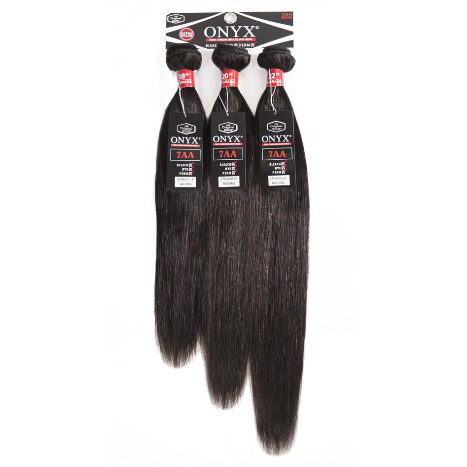 "Onyx Virgin Human Hair 12""+14""+16"" Onyx: 100% Virgin Brazilian Remi 3 Pack - Straight"
