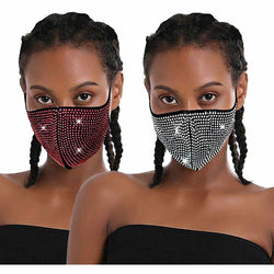 R&B MASKS Stones and Studs Sparkle Rhinestone Reusable Face Mask