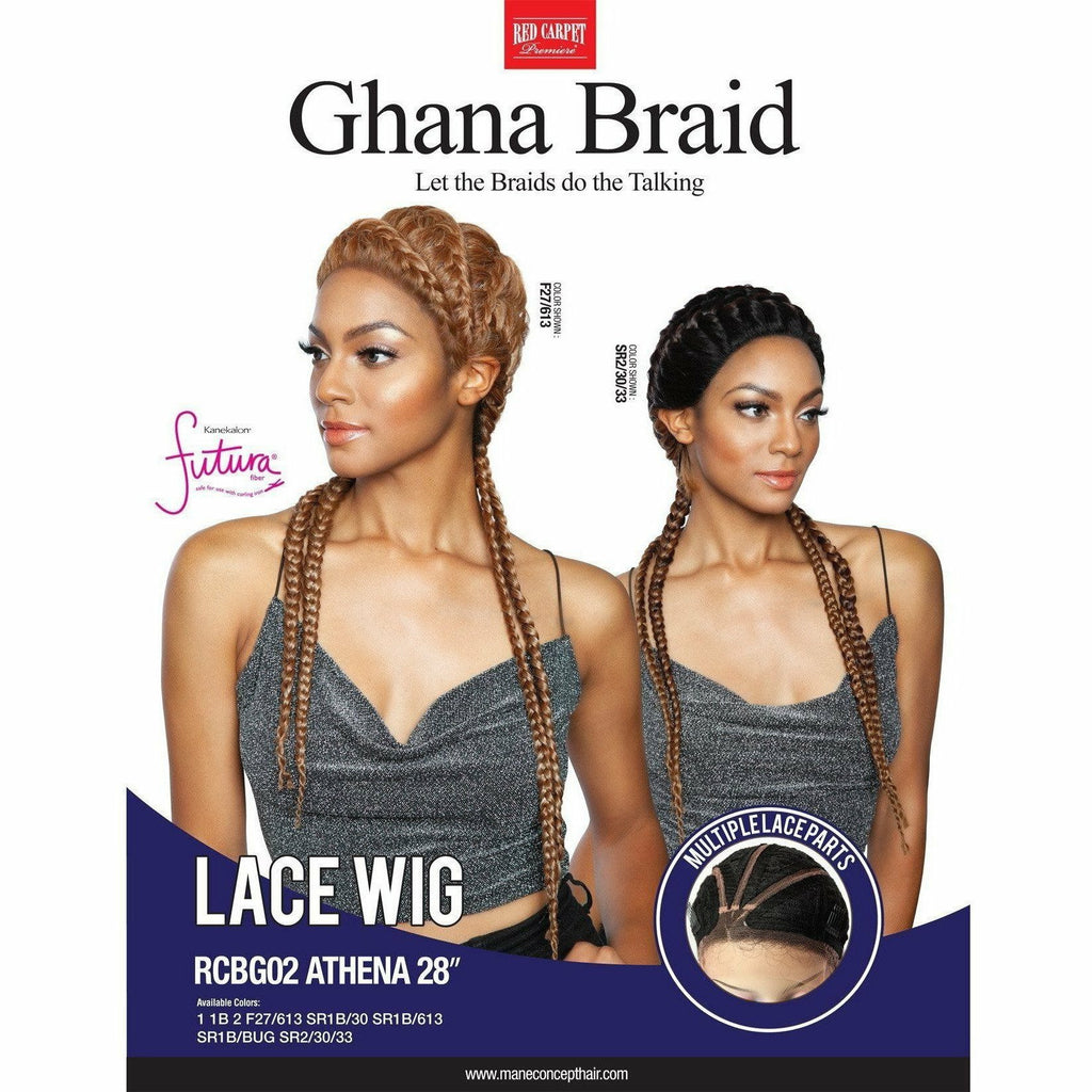 Red Carpet lace wigs #1 - Jet Black Red Carpet: Ghana Braid Lace Wig- Athena 28""