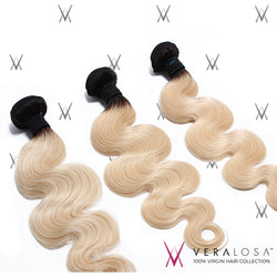 Vera losa™ Virgin Human Hair 10+12+14 / #1B/613 Vera Losa™ 8A Pre-Bleached - Body Wave #1B/613 - 3 Bundle Deals