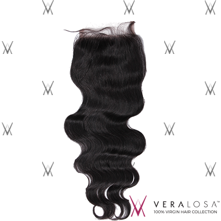 "Vera Losa™ Virgin Human Hair 12"" / Natural Color Vera Losa™ 4x4 Swiss Lace Closure - Body Wave"