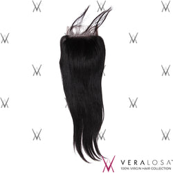 "Vera Losa™ Virgin Human Hair 12"" / Natural Color Vera Losa™ 4x4 Swiss Lace Closure - Straight"