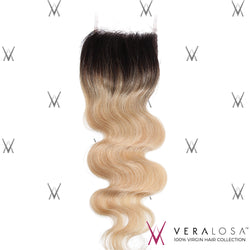 "Vera Losa™ Virgin Human Hair 14"" / #1B/613 Vera Losa™ Pre-Bleached 4x4 Swiss Lace Closure - Body Wave #1B/613"