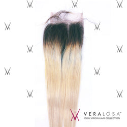 "Vera Losa™ Virgin Human Hair 14"" / #1B/613 Vera Losa™ Pre-Bleached 4x4 Swiss Lace Closure - Straight #1B/613"