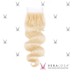 "Vera Losa™ Virgin Human Hair 14"" / #613 Vera Losa™ Pre-Bleached 4x4 Swiss Lace Closure - Body Wave #613"