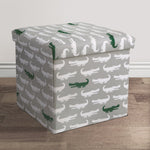 Lush Decor Alligator Fabric Covered Collapsible Ottoman Gray & Green Set