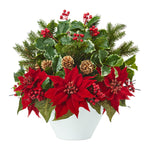 Nearly Natural 18`` Poinsettia, Holly Leaf and Pine Artificial Arrangement in White Vase