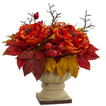 Nearly Natural 15`` Peony and Sedum Artificial Arrangement