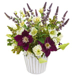 Nearly Natural Mixed Artificial Flower Arrangement in Decorative Vase
