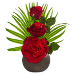 Nearly Natural 14`` Elegant Rose Artificial Arrangement in Stone Brown Vase