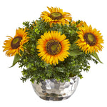 Nearly Natural Sunflower Artificial Arrangement in Silver Vase