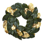 Nearly Natural 22`` Golden Leaf Magnolia Wreath
