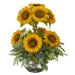Nearly Natural 21`` Sunflower and Mixed Greens Artificial Arrangement in Silver Vase