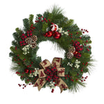 Nearly Natural 24`` Christmas Pine Artificial Wreath with Ornaments