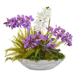 Nearly Natural Phalaenopsis Orchid and Fern Artificial Arrangement